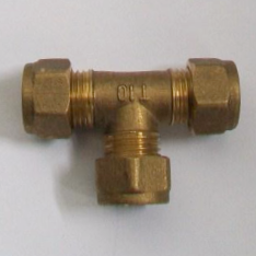 Brass Compression 10mm Microbore Tee Fitting - 24501200