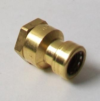 "Brass Push Fit 16mm Pipe x 1/2"" Female Adapter - 27932202"
