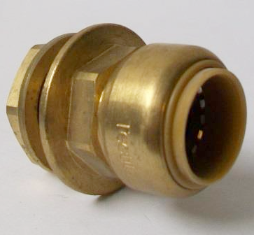 Brass Push Fit 22mm x 3/4 inch Tank Connector - 27052200
