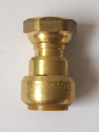 Brass Push Fit Straight Bath Tap Connector 22mm x 3/4 inch - 27622201