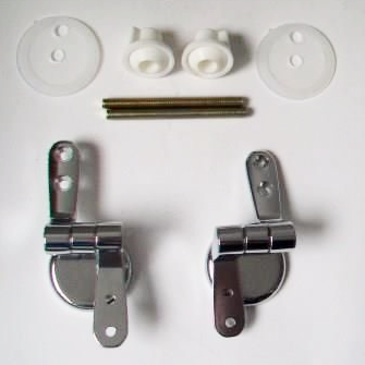 Chrome Wooden and Plastic Toilet Seat Hinges