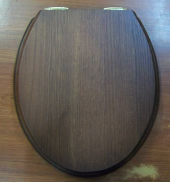 Bon Dark Oak Real Wood Toilet Seat   Soft Close Gold Hinge .