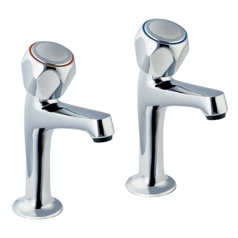 Deva Full Turn High Neck Kitchen Sink Pillar Taps