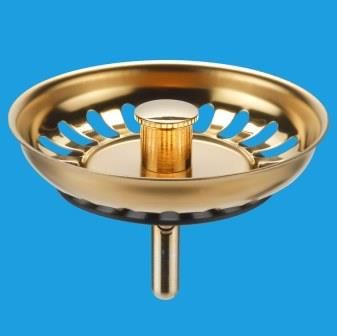 Gold Effect Kitchen Sink Basket Strainer Waste Plug - 39004036