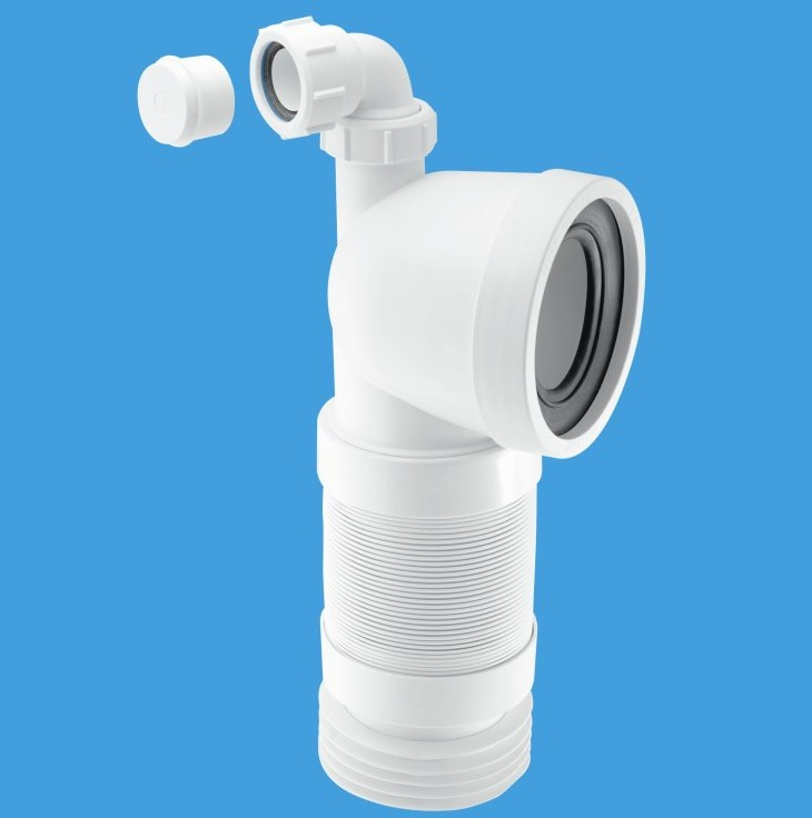 Mcalpine bent flexible toilet pan connector with basin