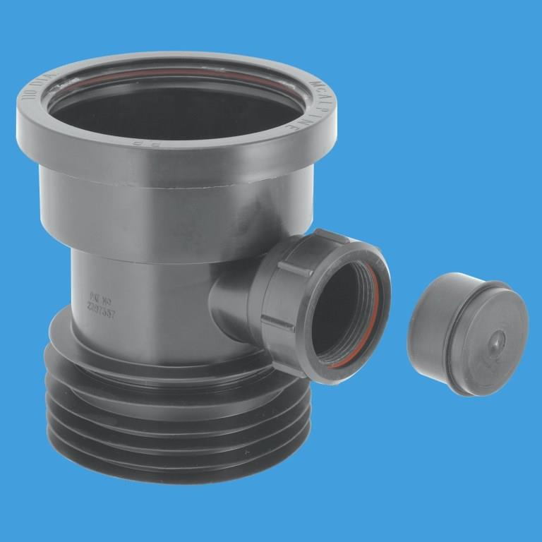 Plastic soil pipe to cast iron and clay adapter with boss