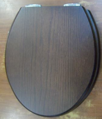 Sanitan Dark Oak Solid Wood Soft Close Toilet Seat   04000307 .