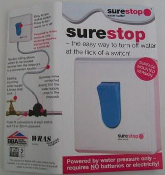 SureStop 15mm Pushfit Remote Switch Stop Cock 2 Metre - 07002426