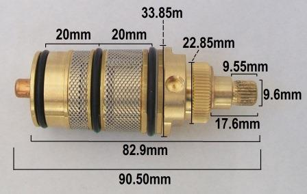 Thermostatic Brass Shower Mixer Cartridge 25 Spline   50702597   Plumbers  Mate Ltd