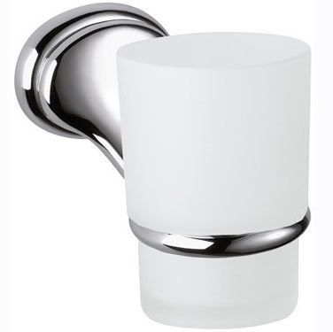 900 White Glass Toothbrush Holder with Chrome Bracket - 01000026