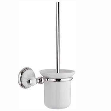 Antique Chrome and White Toilet Brush with Holder - 01000008