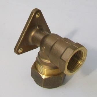 Brass MDPE Bib Tap Wall Plate Elbow 1/2 x 20mm - 18582000