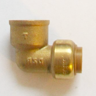 Brass Push Fit 15mm Elbow with 1/2 inch Female Thread - 27141500
