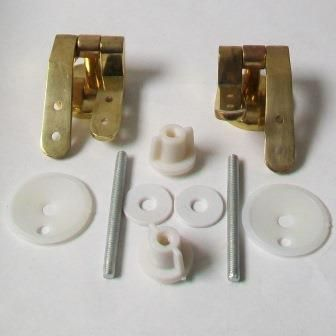 Gold Effect Brass Wooden Toilet Seat Hinges - 03062200