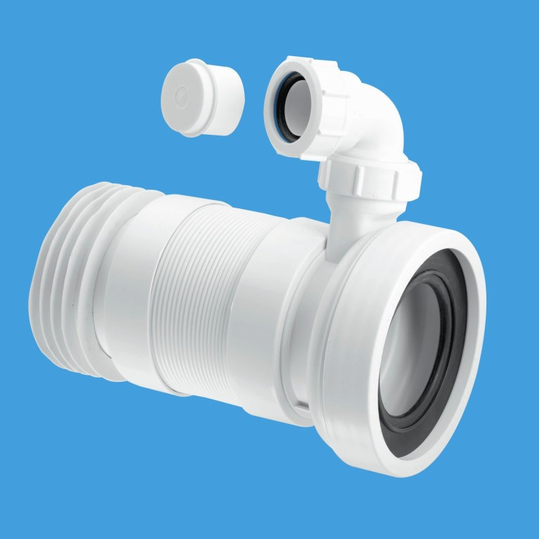 Quick Connect Fittings >> McAlpine Long 410mm Flexible WC Pan Connector with Basin Inlet - Plumbers Mate Ltd