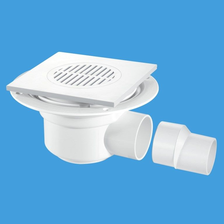 Wet Room Shower Gully Trap Short White For Tiled Or Stoned