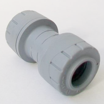 Polyplumb Push Fit 15mm Pipe Straight Coupling - 29P01015