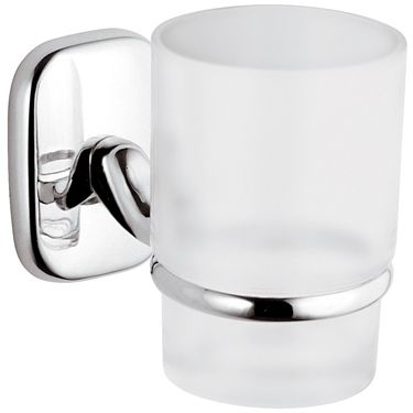 Suite Chrome / White Glass Toothbrush Cup Holder - 01000014