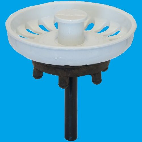 White Kitchen Sink Basket Strainer Waste Plug - 39000023 - Plumbers ...
